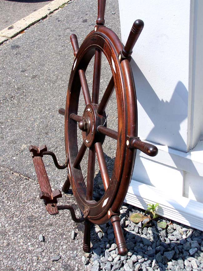 click to view larger image of A Whalebone and Baleen Inlaid Ships' Wheel with later added brackets for a ship model